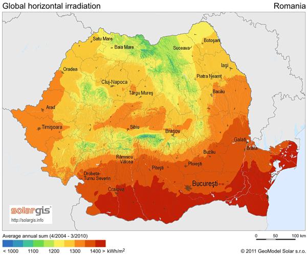 Romania solar PV potential